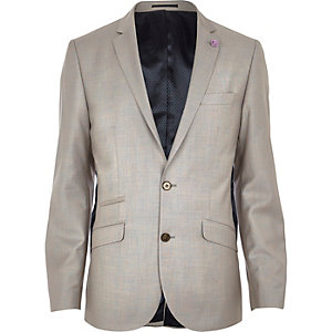 Stone slim suit jacket
