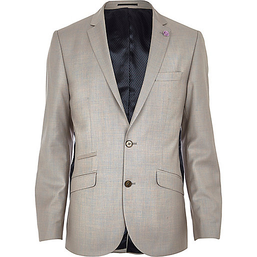 Stone slim suit jacket