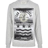 Grey marl San Francisco print sweatshirt