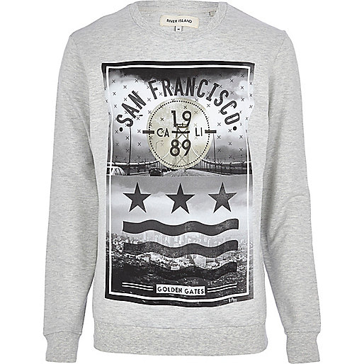 Grey marl San Francisco print sweatshirt