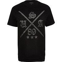 Black USA 89 print mesh overlay t-shirt
