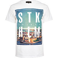 White Stockholm city print t-shirt
