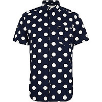 Navy blue polka dot print short sleeve shirt