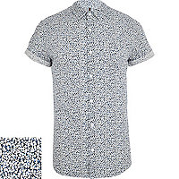 Blue ditsy print short sleeve shirt