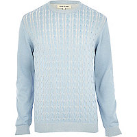 Light blue cable knit jumper