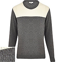 Grey basket weave contrast yoke jumper