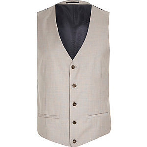 Stone single breasted vest
