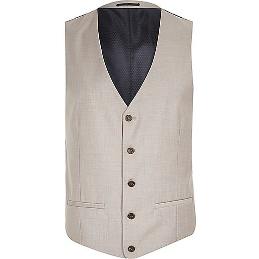 Stone single breasted waistcoat