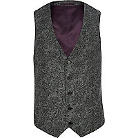 Grey paisley single breasted waistcoat