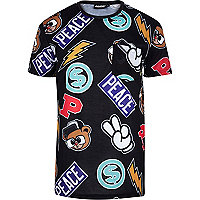 Black Panuu cartoon print t-shirt