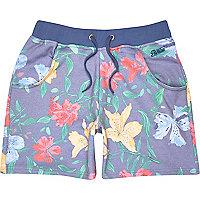 Blue Panuu floral print jersey shorts