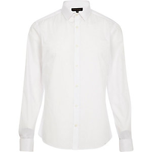 White double cuff long sleeve shirt