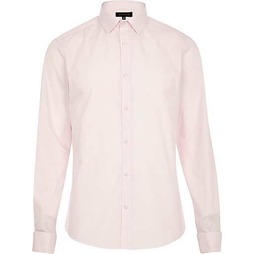 Light pink double cuff long sleeve shirt