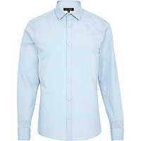 Light blue double cuff long sleeve shirt