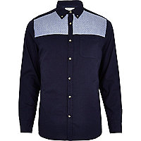 Navy quilted chambray yoke Oxford shirt