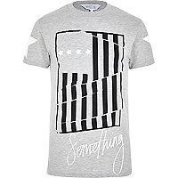 Grey marl Systvm graphic print t-shirt