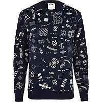 Navy Boxfresh varsity print sweatshirt