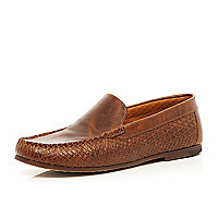 Brown woven slip on loafers