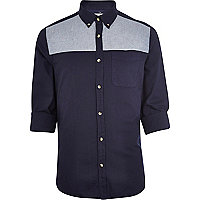 Navy chambray yoke Oxford shirt