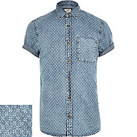 Blue geometric print denim shirt