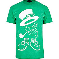 Green leprechaun print t-shirt