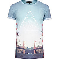 Blue San Francisco bridge print t-shirt