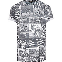 White American football collage t-shirt