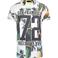 White San Francisco spliced print t-shirt
