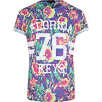 Purple floral Florida Keys 76 print t-shirt