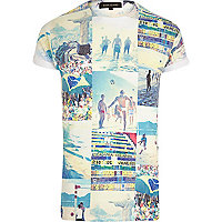 White Brazil beach collage print t-shirt