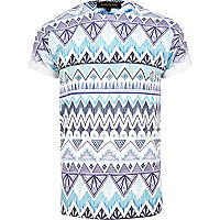 Blue ikat print short sleeve t-shirt