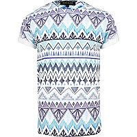 Blue ikat print short sleeve t-shirt