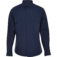 Navy blue long sleeve poplin shirt