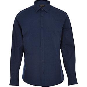 Navy blue long sleeve poplin shirt