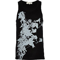 Black smoke birds print vest