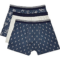Navy nautical boxer shorts pack