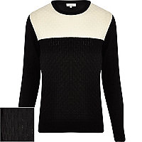 Black basket weave contrast yoke jumper