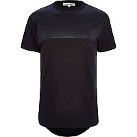 Black perforated leather-look yoke t-shirt