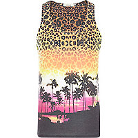 Orange animal palm tree print vest