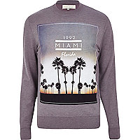 Light purple Miami Florida print sweatshirt