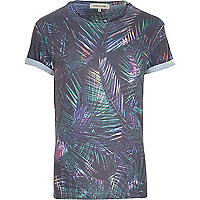 Black tropical leaf print t-shirt