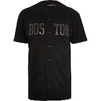 Black Boston print baseball t-shirt