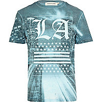 Blue LA print burnout t-shirt