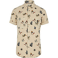 Ecru Jack & Jones Vintage ship print shirt