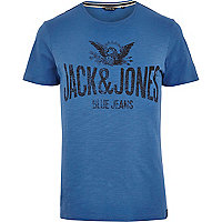 Blue Jack & Jones Vintage logo print t-shirt