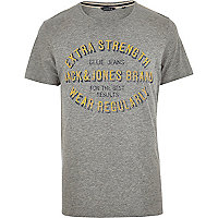Grey Jack & Jones Vintage front print t-shirt