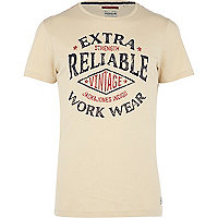 Ecru Jack & Jones Vintage print t-shirt