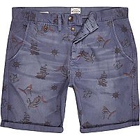 Blue Jack & Jones Vintage ship print shorts