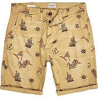 Ecru Jack & Jones Vintage ship print shorts