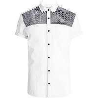 White tile print yoke Oxford shirt